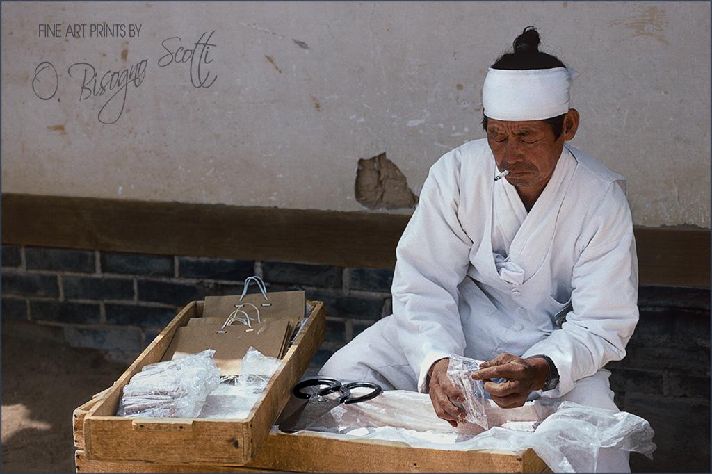 Korean Street Vendor in White