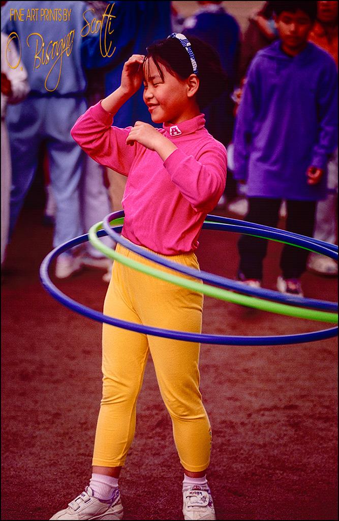 Schoolgirl with Three Hula Hoops